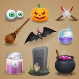 ustawiać Halloween ikony Zdjęcia Royalty Free