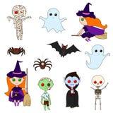 Ustawia Halloweenowych charaktery ilustracji