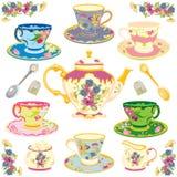 ustawia herbacianego wiktoriański ilustracji