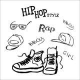 Ustawia hip hop stylowych akcesoria Zdjęcie Royalty Free