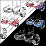 Ustawia Hoverboard, Dwukołowy zmotoryzowany osobisty pojazdu consistin royalty ilustracja
