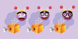 Ustawia humoru pudełko z szczęśliwymi emoji twarzami ilustracja wektor