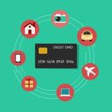 Ustawia ikon robić zakupy Kredytowej karty pojęcie Zdjęcie Royalty Free