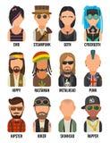 Ustawia ikon subkultur różnych ludzi Modniś, raper, emo punkowy, rastafarian, rowerzysta, goth, hipis, metalhead, steampunk ilustracji