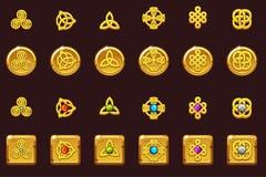 Ustawia ikona celta symbole z klejnotami Złote monety i kwadrat z klejnotami Kreskówka celta ustalone ikony ilustracja wektor