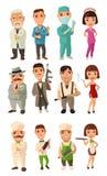 Ustawia ikona charakteru kucharza, mafia, lekarka Kelner, szef kuchni, kelnerka, wykładowca, capo, żołnierz, tancerz Zdjęcie Stock