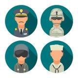 Ustawia ikona charakteru militarnych ludzi Żołnierz, oficer, pilot, żołnierz piechoty morskiej, żeglarz ilustracja wektor