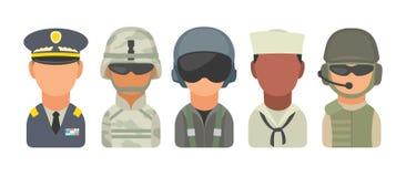Ustawia ikona charakteru militarnych ludzi Żołnierz, oficer, pilot, żołnierz piechoty morskiej, żeglarz, kawalerzysta royalty ilustracja