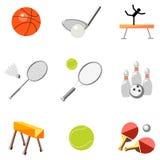 Ustawia ikona sportów wyposażenie na białym tle Zdjęcia Stock