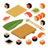 Ustawia ikona suszi rolki i nigiri Słuzyć z bambus matą, chopsticks, wasabi, soja kumberlandem i drewno talerzem, ilustracja wektor