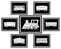 Ustawia ikony dla kolejowego transportu Zdjęcie Royalty Free