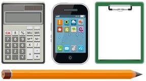 Ustawia ikony - kalkulator, telefon, schowek, ołówek ilustracji