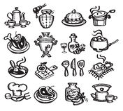 Ustawia ikony karmowe. Wektorowa ilustracja Obrazy Royalty Free