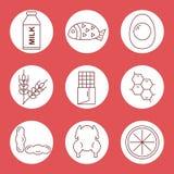 Ustawia ikony karmowi allergens Ikon karmowi allergens w okręgu na czerwonym tle Obrazy Stock