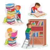 Ustawia ikony mali dzieci czyta książkę ilustracji