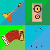 Ustawia ikony na instrumentu muzycznego brzmienia tle Obrazy Stock