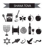 Ustawia ikony na Żydowskim nowym roku, czarna sylwetki ikona, Rosh Hashanah, Shana Tova Kreskówek ikon mieszkania styl symbole tr ilustracja wektor