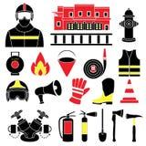 Ustawia ikony pożarniczego wyposażenia ilustracja Obraz Stock