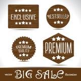 Ustawia ikony premii ilości najlepszy wyborowe etykietki na drewnie textured Obraz Stock