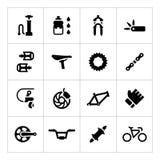 Ustawia ikony rowerowy †'części i akcesoria Zdjęcia Royalty Free