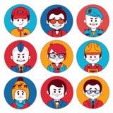 Ustawia ikony z charakterami różni zawody royalty ilustracja