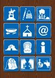Ustawia ikony zabytek, rzemiosła, spacer, archeologiczne ruiny, kościół, internet, informacja, cockfight, bullfight ilustracja wektor