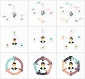 Ustawia Infographic szablon Dane unaocznienie Może używać dla obieg układu, liczba opcje, kroki, diagram, wykres Obraz Royalty Free