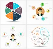 Ustawia Infographic szablon Dane unaocznienie Może używać dla obieg układu, liczba opcje, kroki, diagram, wykres Zdjęcia Stock