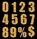 Ustawia inkasowego cyfra symbol, złota tekstura Obrazy Stock