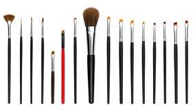 Ustawia inkasowego fachowego kosmetyka muśnięcie dla makeup, odosobniony biały tło Obrazy Stock
