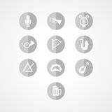 Ustawia instrument muzyczny sieci ikonę Zdjęcie Royalty Free