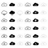 Ustawia internet obłoczne ikony Zdjęcia Stock