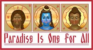 Ustawia jedność religie ilustracja wektor