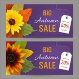 Ustawia jesień horyzontalnych sztandary dla sprzedaży Obraz Royalty Free