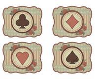 Ustawia kasynową grzebak kartę w rocznika stylu Zdjęcie Royalty Free