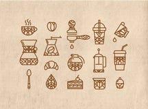 Ustawia kawowego ikony brąz Zdjęcia Royalty Free