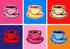 Ustawia Kawowego kubka wystrzału sztuki Wektorowego Ilustracyjnego styl ilustracja wektor