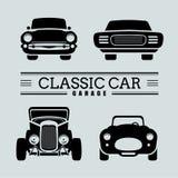 Ustawia klasyczne samochodowe frontowego widoku ikony wektoru ilustracje royalty ilustracja