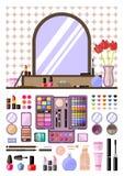 Ustawia kobieta kosmetyki, mieszkanie, damy zgłasza, makijaż Piękno sklep Zdjęcie Royalty Free