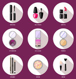 Ustawia kobieta kosmetyki, mieszkanie, makeup Piękno sklep, sklep Zdjęcia Stock
