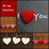 Ustawia kolaż walentynki miłości wiadomość z kolorowymi tkanin sercami Obrazy Royalty Free