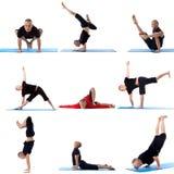 Ustawia kolekcję robi joga na bielu sporty mężczyzna Zdjęcia Royalty Free