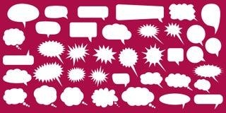 Ustawia, kolekcja mieszkanie stylu mowy wektorowi bąble, chmury, baloons Opowiadać, mówjący, gawędzący, krzyczący, śmiający się,  royalty ilustracja