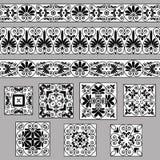 Ustawia kolekcje starzy Greccy ornamenty Antyk płytki w czarny i biały kolorach i granicy ilustracji