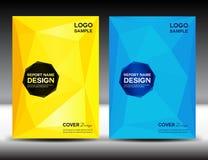 Ustawia koloru żółtego i błękita sprawozdania rocznego Okładkowego projekta okładkowego szablon Zdjęcie Stock