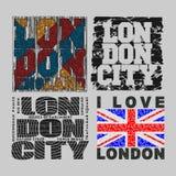 Ustawia koszulkę Londyn, projekt, moda, typografia ilustracji
