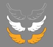 Ustawia kreskówek skrzydła, nakreślenie Wektorowi projektów elementy odizolowywający na ciemnym tle ilustracji