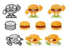 Ustawia kreskówka hamburgery ilustracja wektor