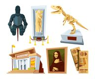 Ustawia kreskówka obrazki muzeum z eksponata strąkiem i narzędziami różnorodni dziejowi okresy royalty ilustracja
