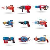Ustawia kreskówka retro astronautycznego niszczyciela, promienia pistolet, laserowa broń również zwrócić corel ilustracji wektora ilustracji